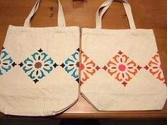 decorate reusable shopping bags (or plain canvas totes - stencil}
