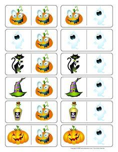 * Domino! 1-2 Halloween Math, Fete Halloween, Halloween Activities, Book Activities, Halloween Crafts, School Pictures, Hallows Eve, Games For Kids, Party Time