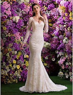 Lanting Bride® Trompette / Sirène Petites Tailles / Grandes Tailles Robe de Mariage  Traîne Tribunal Col en V Dentelle avec