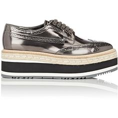 Prada Women's Leather Platform Espadrille Wingtip Oxfords (1278200 IQD) ❤ liked on Polyvore featuring shoes, oxfords, dark grey, woven leather shoes, leather oxford shoes, leather espadrilles, prada shoes and platform oxford shoes