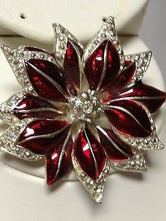 Poinsettia Christmas pin brooch silver & red enamel