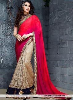 Karishma Kapoor In Red N Beige Designer Saree