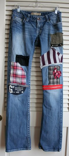 CHILDREN'S PATCHED  jeans | RESERVED OOAK patched embroidered upcycled by BreatheAgainClothing