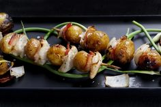Grilled Potato, Onion and Bacon Skewers