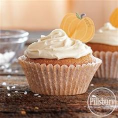 Pumpkin Cupcakes with Salted Caramel Frosting from Pillsbury® Baking