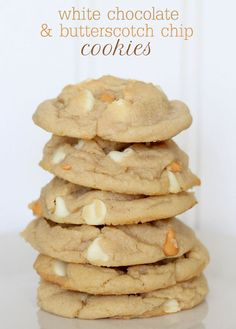 Soft White Chocolate and Butterscotch Chip Cookies recipe on { lilluna.com } #cookies