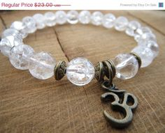 EASTER SALE Yoga Om Bracelet Crackling Clear by BohemianChicbead