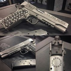 Amazing one of a kind Sig Sauer 1911! A JMB design rooted in American culture and decked out with true Live Free or Die attitude! Sometimes a great looking piece of art is just worth sharing!