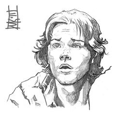 Jared Padalecki character study from early Supernatural Card stock Photo referenced Huh? Guy Drawing, Life Drawing, Drawing Sketches, Supernatural Drawings, Supernatural Fan Art, Pencil Sketches Landscape, Sketches Of People, Drawing Techniques, Art Sketchbook