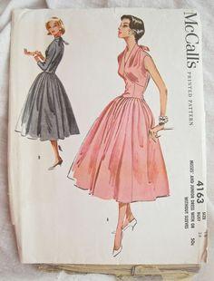 1957 McCalls 4163 Halter Top Full Skirt Dress