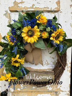 Spring Wreath for Front Door, Sunflower Wreath, Summer Wreath Welcome Signs Front Door, Wooden Welcome Signs, Welcome Wreath, Easter Wreaths, Fall Wreaths, Rustic Wreaths, Fall Swags, Wreaths For Front Door, Door Wreaths