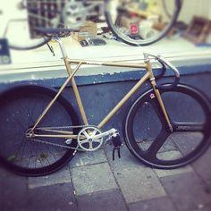 Custom track bike at Pristine, Amsterdam. love that geometry.