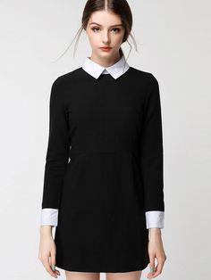 Contrast Collar Zipper Back Shirt Dress -SheIn(abaday)