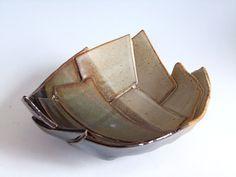pottery hand built slab bowls | Serving Bowl. 7.5 inch diam. Hand-made. Slab Built. Stoneware