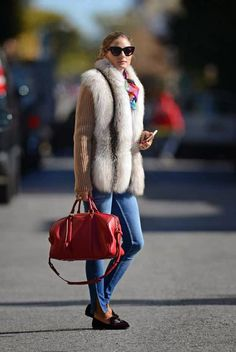 Olivia Palermo..  Salvatore Ferragamo Scotty velvet slippers, Christian Dior sunglasses, Louis Vuitton Sofia Coppola Satchel bag, and Amy Sia Designs scarf..