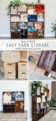 Wow! If you're looking for a beautiful way to organize your stash, these DIY yarn storage shelves offer an easy, modern solution. The wooden crates make them perfectly customizable to fit your closet, craft room, or heck--your bedroom! Full step-by-step tutorial and video. via @makeanddocrew
