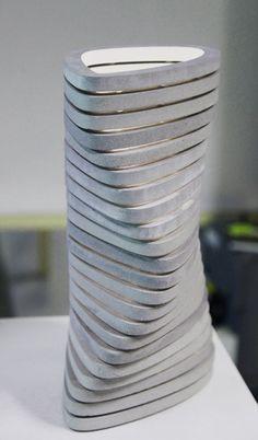 OVO vase  - alsace concrete conenna concrete design contemporary france led modular tamim daoudi vase
