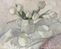 Landscapes above are from the Portland Gallery site, as is the delightful still life below, which I find a positive look forward to Spring (with luck ...