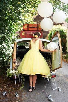 Perfect 50s inspired bridesmaid dress for your retro wedding!! Yellow Wedding:: Rockabilly wedding:: retro bridesmaid dress Check out Dieting Digest