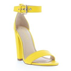 Liliana Footwear Yellow Sage Sandal (29 CAD) ❤ liked on Polyvore featuring shoes, sandals, yellow shoes, high heel sandals, sage shoes, synthetic shoes and yellow sandals