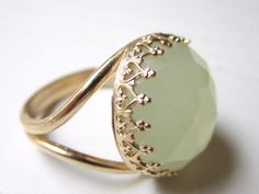 Gold Lemon Jade Gemstone Ring