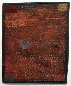 Dorothy Caldwell - Absorbing Place, stitching on cotton with earth ochre, 2013