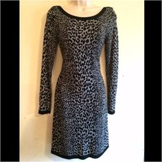 NWT French Connection Leopard Sweater Dress Gorgeous leopard print in great and black. Long sleeves, boat neck. 90% viscose, 10% nylon. No trades. Generous discount with bundle. French Connection Dresses Long Sleeve