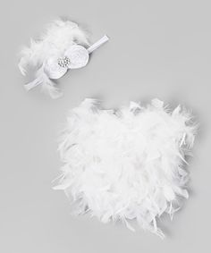 Take a look at this White Feather Bloomers & Headband - Infant by Bébé Oh La La on #zulily today!