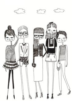 Fashion illustration, original Fashion Art, Fashion Drawing, quirky girls, Black and white art