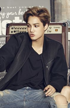 Badass Kai as he waits for his long awaited date with Kyungsoo to come. xD #KaiSoo
