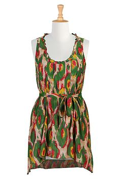 I <3 this Tie-dye print cotton tank dress from eShakti - Avail in plus size