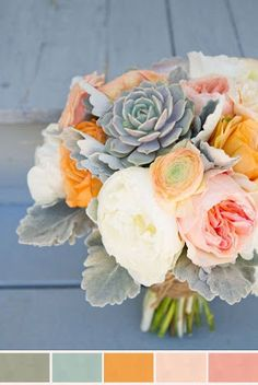 Pale palette bouquet with peonies, ranunculus, spray roses, and dusty miller. Very delicate and pretty bouquet. Bouquet Succulent, Pink Succulent, Succulent Ideas, Color Combos, Color Schemes, Wedding Bouquets, Wedding Flowers, Our Wedding, Dream Wedding