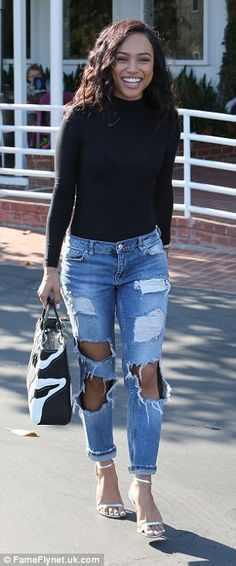 Ladies who lunch:Christina Milian and Karrueche Tran were seen dining out at dining at Mauro's cafe in West Hollywood on Tuesday