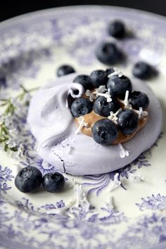 purple meringue with passionfruit & chocolate creme and blueberries