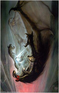 Gandalf Falls with the Balrog (via John Howe :: Illustrator John Howe :: Illustrator [ Portfolio ] :: Home/From Hobbiton to Mordor/Gandalf Falls With The Balrog)