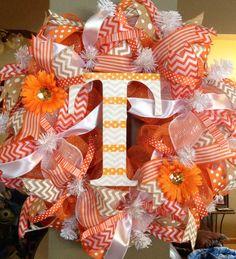 Tennessee Vols Orange Mesh and Burlap Wreath