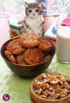 Galletas de avena y nuez Vegan Vegetarian, Vegetarian Recipes, Healthy Recipes, Delicious Recipes, Sugar Free Breakfast, Cocina Natural, Sin Gluten, Vegan Desserts, Biscotti
