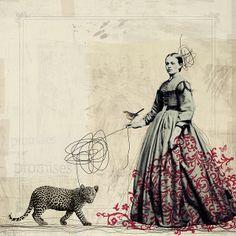 cat walk by fiona watson art. - 18 x 18 inch original digital print on 300 g Somerset paper Art And Illustration, Gravure Illustration, Photomontage, Collages, Collage Art Mixed Media, Cat Walk, Medium Art, Oeuvre D'art, Altered Art