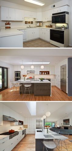 BEFORE & AFTER - The kitchen was renovated to reflect stylish, mid-century modern design. Floor-to-ceiling cabinets provide essential storage, and a long island serves as place to prep and dine. Bertoia barstools and light hardwood floors complete the fresh, open design.