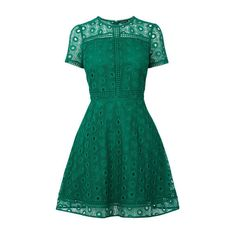 Warehouse Mixed Lace Prom Dress (€100) ❤ liked on Polyvore featuring dresses, bright green, green prom dresses, green dress, blue dress, a line dress and prom dresses