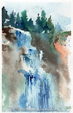 Watercolor Palette Guide A Waterfall Worth the Hike See it Colorful Art, Art Painting, Landscape Paintings, Watercolor Paintings, Watercolor Landscape Paintings, Art, Abstract, Landscape Art, Water Painting