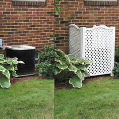 Air Conditioner Cover Outdoor, Air Conditioner Screen, Hide Trash Cans, Outdoor Trash Cans, Trash Can Storage Outdoor, Backyard Projects, Outdoor Projects, Backyard Ideas, Privacy Screen Outdoor