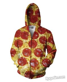 Pizza All Over Print Zip-Up Hoodie - RageOn! - The World's Largest All-Over-Print Online Store