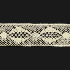 Entredós de encaje de bolillos de algodón mercerizado de 4 cm. (Disponible en 2 colores)