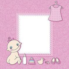 Cartão do anúncio do Bebê Menina doce estilo desenho animado. - ilustração de arte em vetor