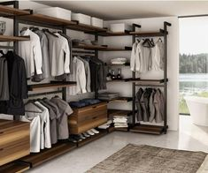 A guide to style & life from the premier home decor store in Richmond, VA. Introducing the Gravity Wall System to conquer the clutter. Joel Dupras at Huppe in Bedroom Closet Design, Closet Designs, Bedroom Decor, Closet Space, Walk In Closet, Garderobe Design, Dressing Design, Wardrobe Systems, Wardrobe Room