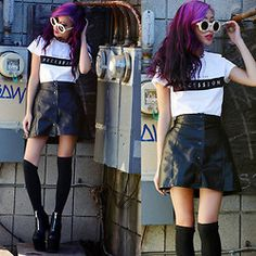 Brashy Couture Made In The Rece$$Ion Tee, Teen Spirit Skirt, Wildfox Couture Lennon Sunnies, Unif Das Boot