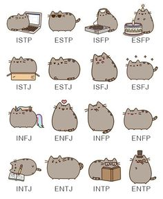 MBTI types as Pusheen the Cat-I am INFJ & my husband is an INTP.  it is sooo us!!