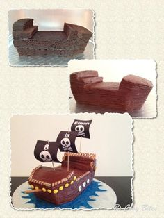 Want To Make With Pre-made Mini Cakes.Pirate Ship Cake (With Hershey's Chocolate Cake Recipe) Make Ship Like This. Want To Make With Pre-made Mini Cakes.Pirate Ship Cake (With Hershey's Chocolate Cake Recipe) Hershey Chocolate Cakes, Pirate Ship Cakes, Easy Pirate Cake, Pirate Ships, Pirate Theme, Boy Birthday, Pirate Birthday Cake, Pirate Birthday Parties, Eat Cake