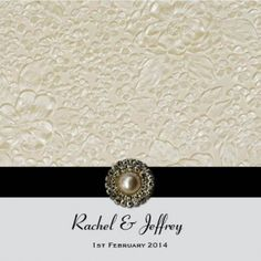 Layered Embossed Roses in Ivory Square Invitation and Pocket in Black - DreamDay Invitations